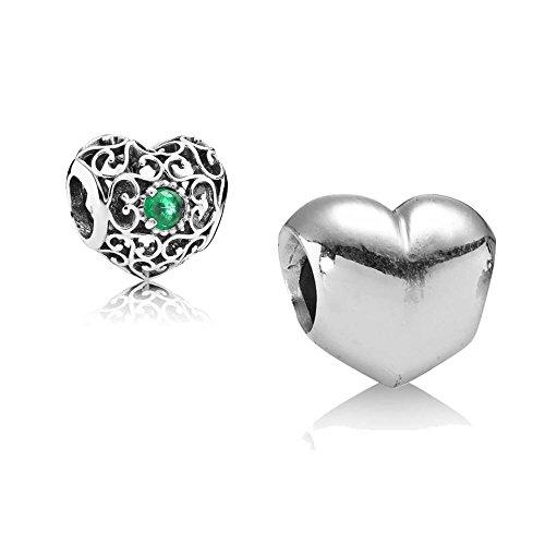 [A] Original Pandora Geschenkset - 1 Silber Charm 790137 Glattes Herz + 1 Silber Charm 791784NRG Mai-Herz