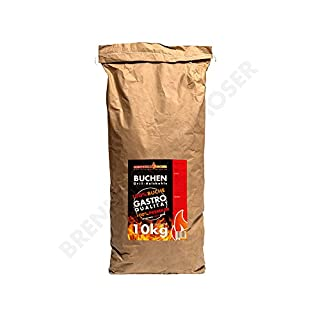Holzkohle Buche für BBQ, Grillkohle EXTRA groß, 10kg, Buchenholzkohle, Gastro Qualität, Nicht für Lotus Grill geeignet - Stücke sind zu groß, Ideal für Gastronomie, 1x 10kg Sack