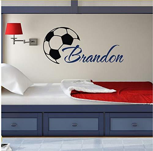 Lvabc Custome Boys Name Wandtattoos Mit Fußball Kunst Wandaufkleber Personalisierte Home Kinderzimmer Dekor Vinyl Tapete Diy Poster 27 X 57 Cm