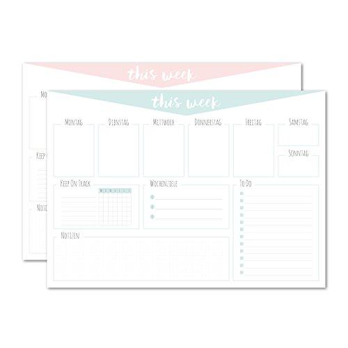 Schreibtischunterlage / aus Papier zum Abreißen / pastellfarben/weiß / DIN A3 (42x29,7cm) /...