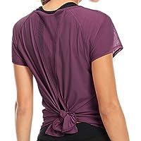 Damen Yoga gebunden Mix & Mesh Kurzarm T-Shirt Sport T-Shirt