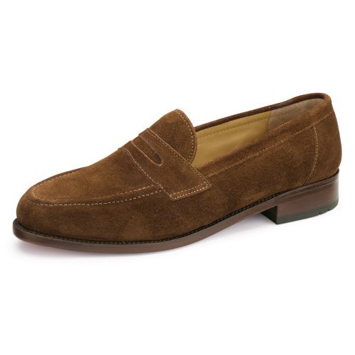 Samuel Windsor Men's Handmade Goodyear Welted Slip-on Penny Loafer Leather Shoes in Black, Brown, Brown Suede, Dark Brown Suede. (11, Brown Light Suede)