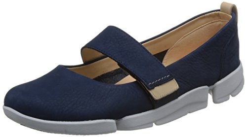 Clarks Tri Carrie Womens Wide-Fit Mary Jane Schuh 5.5 D (M) UK/ 39 EU Marineblau Nubuk
