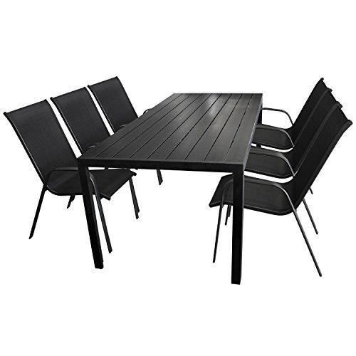 7tlg. Gartengarnitur Gartentisch, Aluminium, Polywood Tischplatte schwarz, 205x90cm + 6x Stapelstuhl, Textilenbespannung schwarz / Gartenmöbel Terrassenmöbel Sitzgarnitur Sitzgruppe