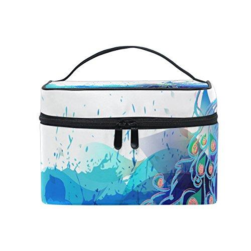 Cosmetic Bag Canvas Travel Kulturbeutel Top Single Layer Make-up-Beutel-Organisator Multi-Funktions-kosmetischer Fall Griff für Groß Mehrfarbig (Peacock Make Up)