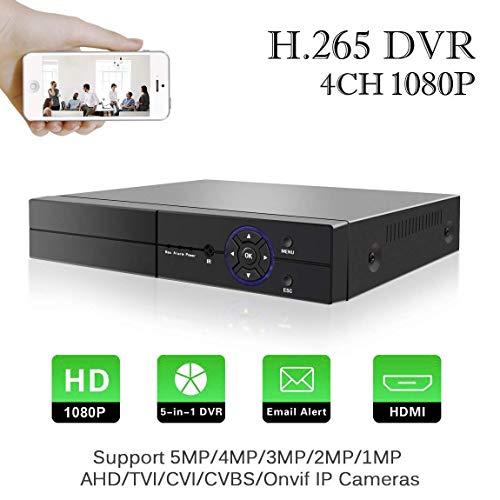 4CH 5M-N/1080P DVR Vidéo Enregistreur Myada H.265 AHD/TVI/CVI/Onvif IP/CVBS 5 en 1 CCTV HVR Onvif NVR, HDMI, Détection de Mouvement Alarme Email, Surveiller à Accès par PC, pour 2MP, 3MP, 5MP Caméra