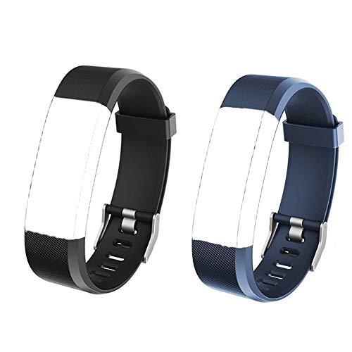 Eve L 2 Ersatzbänder Verstellbare Zubehörbänder mit Gürtelschnalle Wasserabstoßend Geeignet für Fitness Armband Uhr ID115Plus HR Pulsuhren Nicht für ID 115 ID115U ID103, Blau + Schwarz