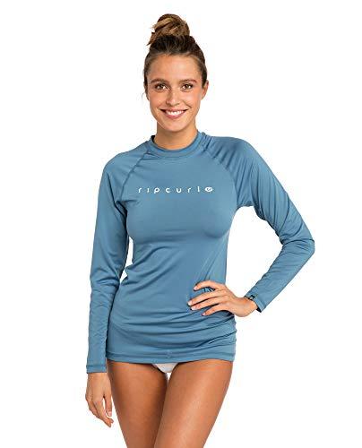 Flache Damen Shirt (RIP CURL WLY6FW Sunny Cloud,Lycra Longsleeve, UV Shirt, Langarm,Denim Blue,L/175cm)