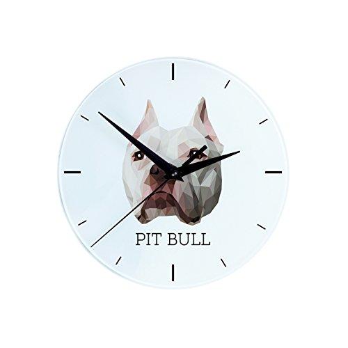 Pit Bull, Wanduhr mit einem Bild eines Hundes, geometrisch