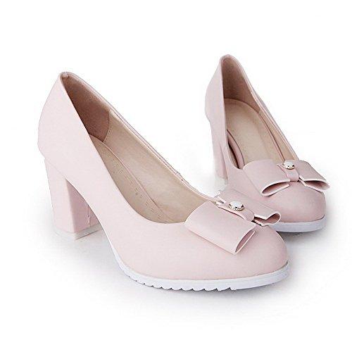 AgooLar Damen Rund Zehe Hoher Absatz Rein Ziehen Auf Pumps Schuhe Pink