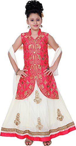 Saarah Girls Ethnic Wear Red Color Embroidered Lehenga, Choli and Dupatta Set
