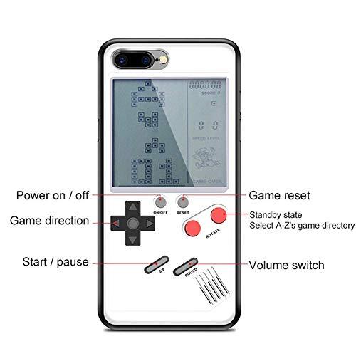 Gameboy Funda para iPhone Fundas con Cubierta Protectora Suave Reproductor de Juegos portátil con Sistema de Juegos Retro Tetris Blanco (iPhone 6/6S/7/8 Plus)