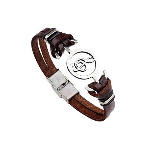 Fengteng Vintage Herren Lederarmband, Hohl Noten Armband mit Anker Note Musik Armreif Surferkette...