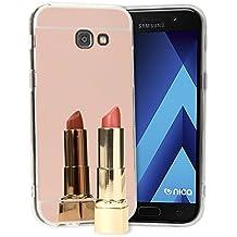 Samsung Galaxy A3 2017 Funda Espejo de NICA, Protectora Movil Carcasa Silicona Ultra-Fina Bumper Mirror Case, Goma Cubierta Cobertura Phone Cover para Telefono Samsung A3 2017, Color:Rosa Gold Oro