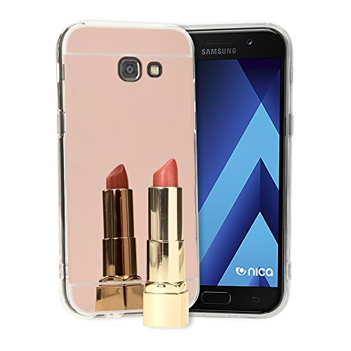 NALIA Spiegel Hülle kompatibel mit Samsung Galaxy A5 2017, Ultra-Slim Mirror Case Cover Silikon Schutzhülle, Dünne Handyhülle Backcover verspiegelt, Handy-Tasche Smart-Phone Etui, Farbe:Rose Gold A517 Case Cover