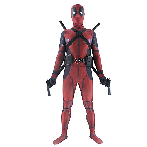 shoperama Deadpool Kostüm für Teenager Damen und Herren Superhero Superheld Comic Anti-Held Overall Cosplay, ()