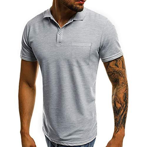 Polo Shirts für Herren/Skxinn Männer Sommer Kurzarm Stylisch Slim Fit Sport Knöpfe Design Halb Cardigans Casual T-Shirt Atmungsaktiv Herrenkleidung S-2XL Reduziert(Grau,Large)