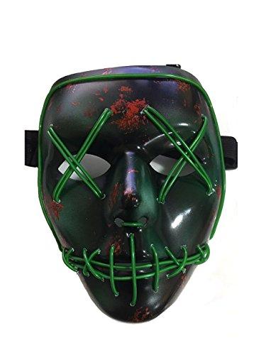 Purge Halloween Für Kostüme (JBENG Erschreckend Draht Halloween Cosplay LED leuchten Maske für Festival Parteien, grün)