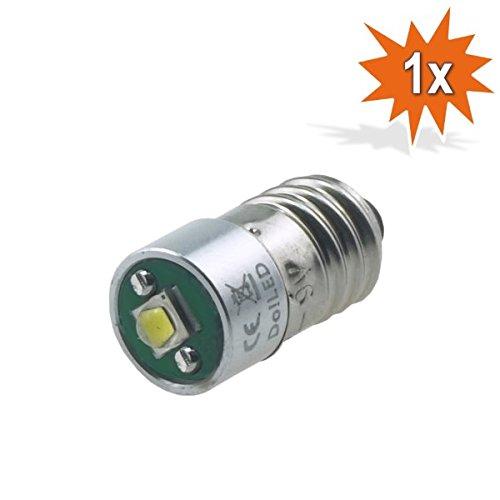 Do!LED E10 LED Cree Birne 3 Watt 220 Lumen, 3,2 - 9 Volt, Schraubsockel, Gleichstrombetrieb DC Lampe Taschenlampe Weiss Stirnlampe -