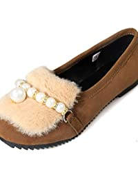 ZQ YYZ Zapatos de mujer-Tac¨®n Plano-Comfort-Planos-Exterior / Casual-Vell¨®n-Negro / Azul / Rojo , black-us6 / eu36 / uk4 / cn36 , black-us6 / eu36 / uk4 / cn36