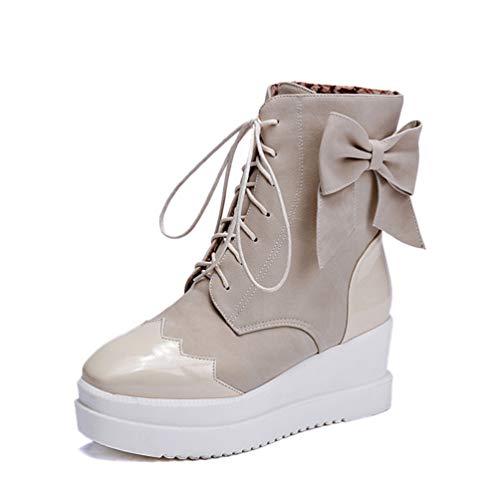 Keil High Heels Frauen Schuhe Lace-Up Karree Flache Plattform Lässig Bogen Mädchen Warme Plüsch Hinzufügen Pelz Schnee Stiefel
