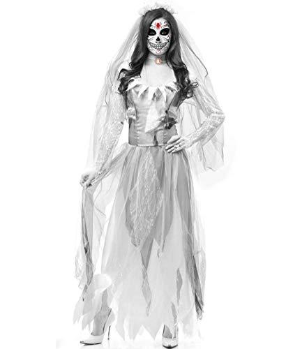 MSSugar Erwachsene Frauen Zombie Braut Kostüm Kleid und Schleier + Hals Ornamente Adult Dead Bride Kostüm für Halloween Party Kostüm - Dead Zombie Braut Kostüm