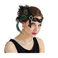 JISEN 1920s Flapper Vintage Peacock Feather Gatsby Beaded Tassel Headpiece Green