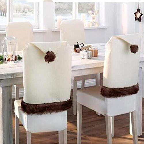 Ecisi Nordischen Stil Einfache Weihnachtsdekor Küchenstuhl Schonbezüge Beige Weihnachten Stuhlhussen Langlebige Stuhllehnenbezüge für Urlaub Party Festival Küche Esszimmer Stühle (Set von 4)