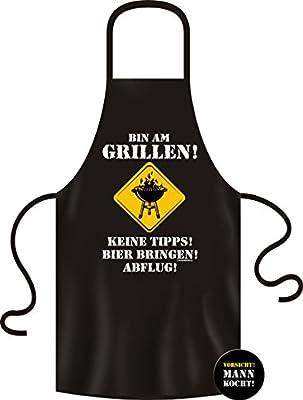 Rahmenlos Edition Geschenk Paket Grillschürze Kochschürze Grillen Männergeschenk + Button Vorsicht Mann Kocht zur Schürze