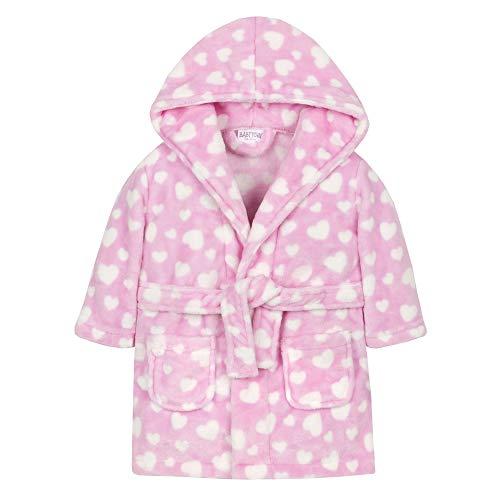 Babys Herz oder Sternendruck Weiches Plüsch Fleece-Robe (18-24 Monate, Rosa mit Herzen) -