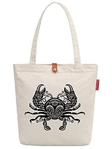 So'each Women's Crab Geometric Pattern Top Handle Canvas Tote Shopping Bag