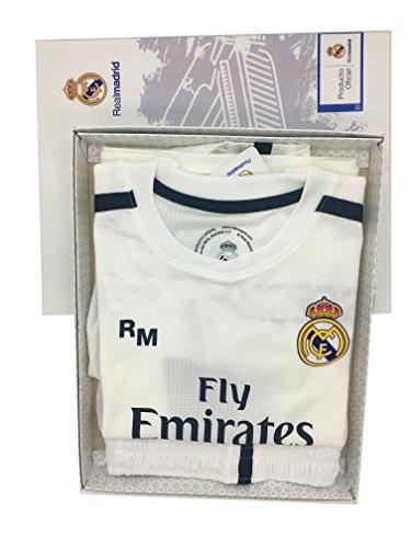 d04825526b ... Conjunto 1º Equipo SIN Dorsal Liso Real Madrid JR 2018-2019  Camiseta+Pantalones Cortos ...