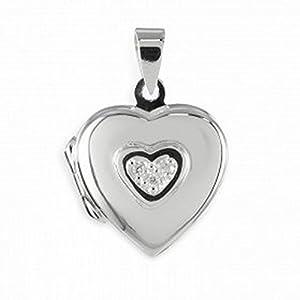 ASS 925 Silber Medaillon Herz Anhänger Foto mit 3 Zirkonia glanz,poliert,rhodiniert