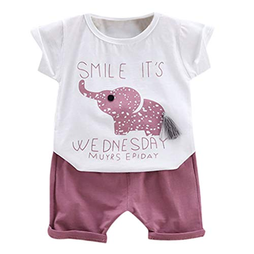 LEXUPE Kleinkind Baby Boy Girl Cartoon Brief gedruckt T-Shirt Tops + Shorts Outfit Set(Lila,80/S) - Lila Küsst