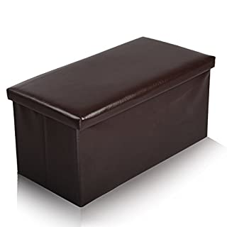 Ashley Mills New Large Ottoman Foldaway Storage Blanket Toy Box Bench Faux Leather Chocolate 76x38cms