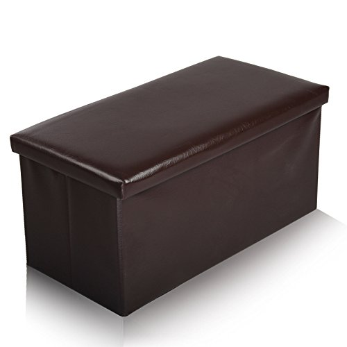 Große Polsterbank, Ottomane mit Aufbewahrungsbox, zusammenklappbar, Lederimitat, 2 Sitzplätze, 76x38cm, Kunstleder, schokoladenbraun, 76 x 38 cm