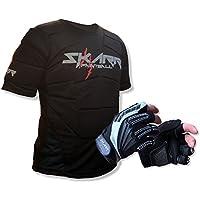 Paintball SKARR/Airsoft Body Armour en negro con SKARR dos Paintball guantes de dedo/guantes en gris/negro–Funda protectora de paquete en chaleco/chaleco acolchado rebote + Paintball guantes de CKSN, hombre mujer, Body Armour / Bounce Vest, negro/gris