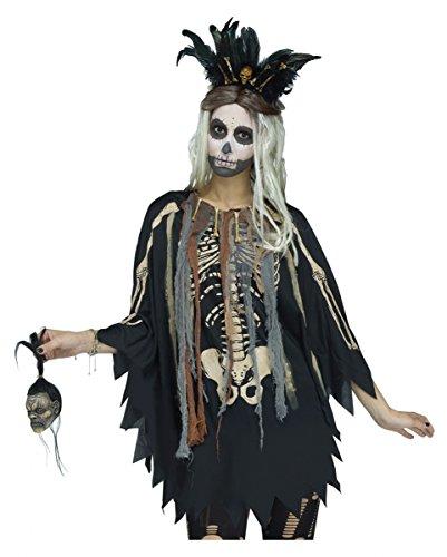 Horror-Shop Voodoo-Skelett Poncho für Halloween, Tag der Toten & Motto Party