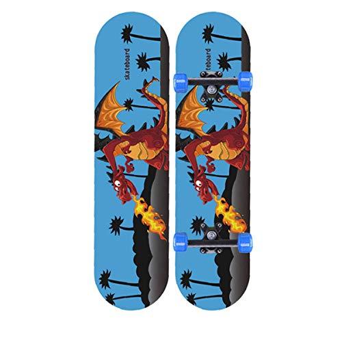 rd Komplett Longboard Double Kick Skateboard Cruiser 8 Lagen Ahorn Deck für Extremsport und Outdoor, 13,60cm ()