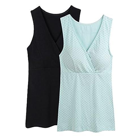 Still-Shirt/ Nursing Top, KUCI® Damen Still-Tank Top Leibchen Schlaf-BH für das Stillen Umstandstop (L, Black+Light Green Dot/2Pack)
