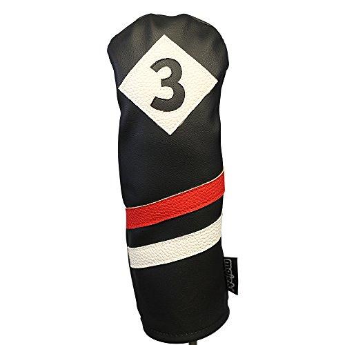 majek Retro Golf Schlägerhaube schwarz rot und weiß Vintage Leder Stil # 3Fairway Holz Head Cover Classic Look (Cobra Golf Covers Head Clubs)