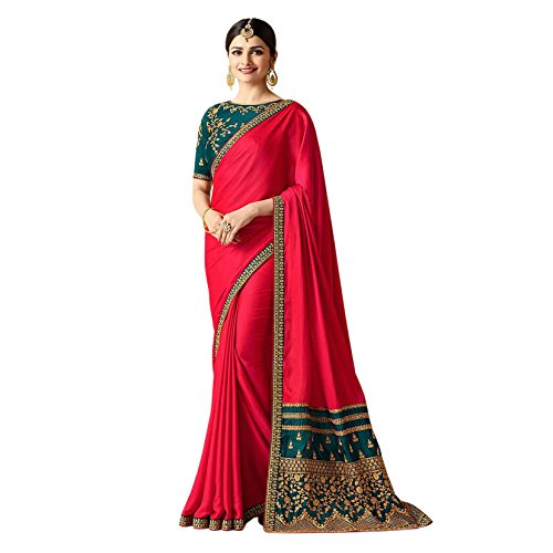 Queen Fashion Hub Women's Silk Embroidery Latest Designer Saree Saree (FGBGT11572_Pink_With Blouse...