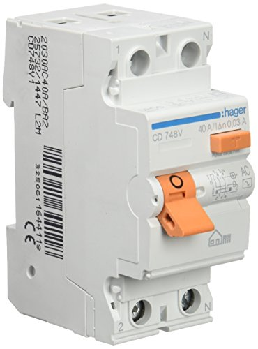 Hager CD748V Interruptor Diferencial Tipo AC, 2P, 40A, 30mA