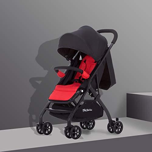 AZSUT - Carrito de bebé, Carrito de bebé, paracaídas Plegable, Super portátil, para bebé, Color Negro y Rojo. Bandera