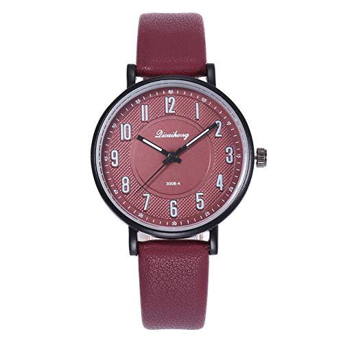 Damen Armbanduhr, Unisex, rundes Zifferblatt, arabische Ziffern, Quarz, analog, Geschenk – Rot