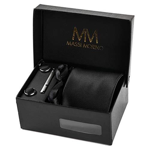 Massi Morino ® Herren Krawatte Set (inkl. Einstecktuch + Manschettenknöpfe + Krawattennadel) Geschenkbox (Schwarz)