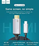 HOCO UA13 USB Type C To 4K HDMI Cable Thunderbolt 3 Compatible For Apple MacBook Pro 2018 2017 2016 Macbook 12 inch , Surface Book 2, Samsung Galaxy S9 S8 Plus Note 9 8 , Dell XPS 13 15, Lenovo Yoga 900 Huawei Matebook , HP Spectre Envy 13 Pixelbook More - Gray - 1.8m