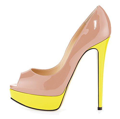 Guoar , Escarpins peep-toe femme B-Natural