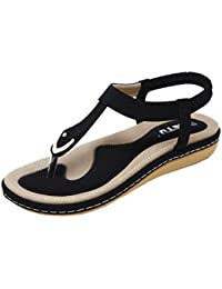 LuckES Negro Sandalias de mujer plataforma Sandalias con cuentas de Bohemia Zapatos de playa Calzado Zapatos De Moda Bowknot Chicas Piso Pricness Playa CóModo Ancho (39, Negro)