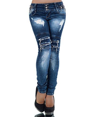 L381 Damen Jeans Hose Hüfthose Damenjeans Hüftjeans Röhrenjeans Röhrenhose Röhre, Farben:Blau;Größen:40 (L)